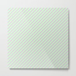 Pastel Tones Inclined Stripes Metal Print