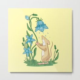 Morning Wash. Field Mouse and Bluebell Metal Print
