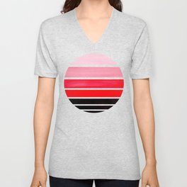 Red Mid Century Modern Minimalist Circle Round Photo Staggered Sunset Geometric Stripe Design Unisex V-Neck