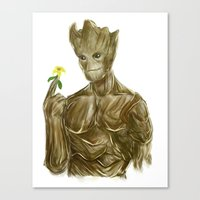 groot Canvas Prints featuring Groot by Augeo