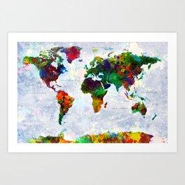 Abstract World Map Art Print