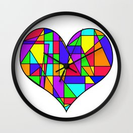 Stained Glass Heart Wall Clock