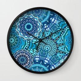 Blue Boho Mandela Pattern 5 Wall Clock