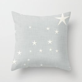 Grey star with fabric texture - narwhal collection Throw Pillow