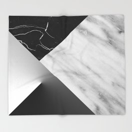 Monochromatic Marble Collage  Throw Blanket