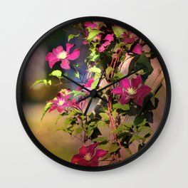 Clematis in Shade Wall Clock