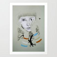 She, Tree Art Print