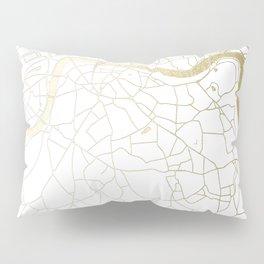 London White on Gold Street Map Pillow Sham