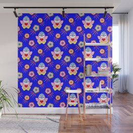 winter baby penguins, retro vintage lollipops, sweet candy holiday pattern. Navy blue nursery design Wall Mural