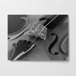Strings - Black and White Violin A621 Metal Print