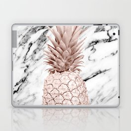 Rose Gold Pineapple on Black and White Marble Laptop & iPad Skin