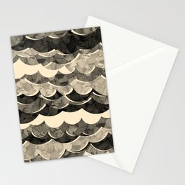 Abstract Beige Sea Waves Design Stationery Cards