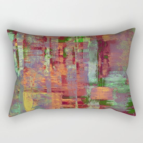 Overexposed - Abstract, textured painting in brown, orange and green Rectangular Pillow