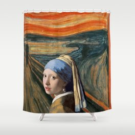 The Scream of Pearl Earring Girl Shower Curtain