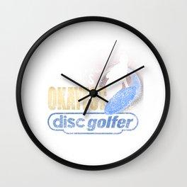 World's Okayest Disc Golfer Distressed Disc Golf Wall Clock