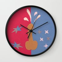 penis Wall Clocks featuring Felt Penis: Squirt by BRENT PRUITT