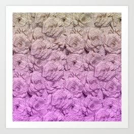 Bright Purple Ombre Book Flowers Art Print