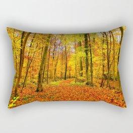 Autumn Forest with Fallen Leaves Rectangular Pillow