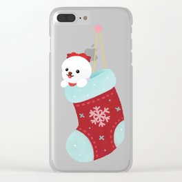 Christmas bichon frise 3 Clear iPhone Case