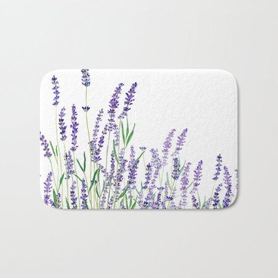 lavender watercolor horizontal Bath Mat