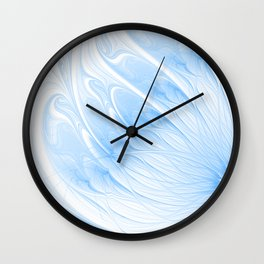 Blue White Flower | Abstract digital painting, cute floral pattern, pretty pastel flowers Wall Clock