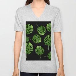 Black Tropical leaves Unisex V-Neck