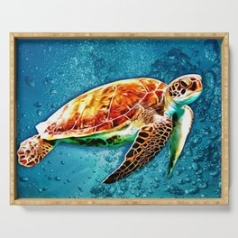 SEA TURTLE SWIMMING Serving Tray