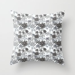 Black and white floral pattern . Throw Pillow