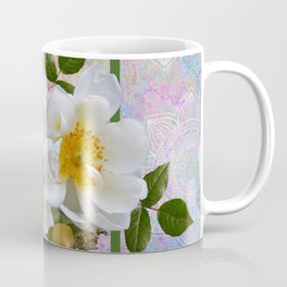 White Flowers with Inset Coffee Mug