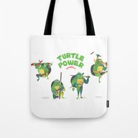 ninja turtle Tote Bags featuring Ninja Turtles Turtle Power by MrMaars