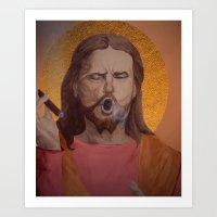 christ Art Prints featuring Jesus Christ by Ethan Hellexon