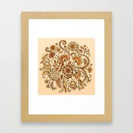 Jacobean Inspired Floral Doodle in Neutral Woodland Colors Framed Art Print