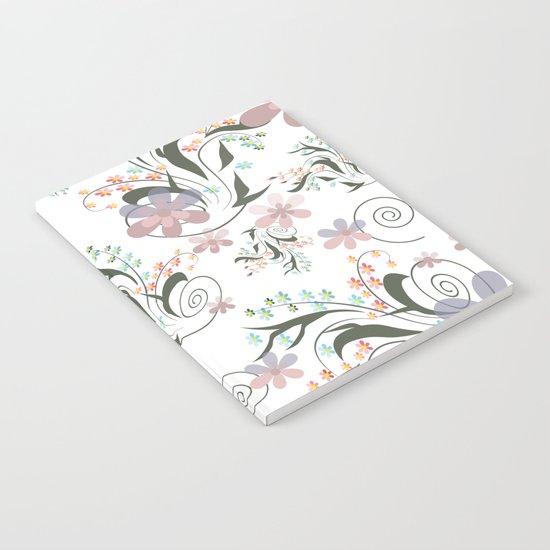 Pink blue flowers . floral pattern , flowers , illustration flowers , textiles flower , pink flowers Notebook