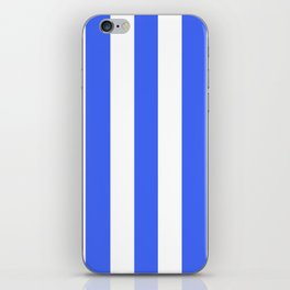 Ultramarine blue - solid color - white vertical lines pattern iPhone Skin