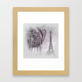 Typical Paris | grey/pink watercolor Framed Art Print