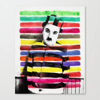 charlie chaplin Canvas Prints featuring Charlie Chaplin by manish mansinh