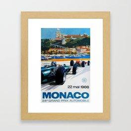 Gran Prix de Monaco, 1966, original vintage poster Framed Art Print