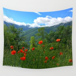 Wild poppies of the Pyrenees mountains Wall Tapestry