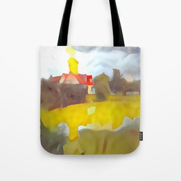 Yellow Field with Church Tote Bag