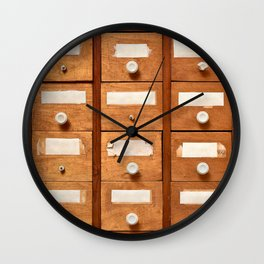 Backgrounds and textures: very old wooden cabinet with drawers Wall Clock