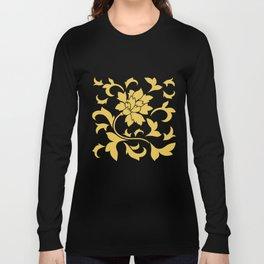 Oriental Flower - Mustard Yellow Long Sleeve T-shirt