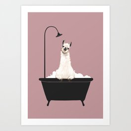 Llama in Bathtub Art Print