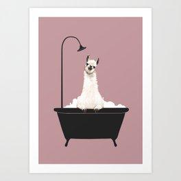 Llama in Bathtub Art Print