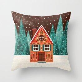 Cozy Winter House Throw Pillow