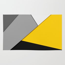 Simple Modern Gray Yellow and Black Geometric Rug