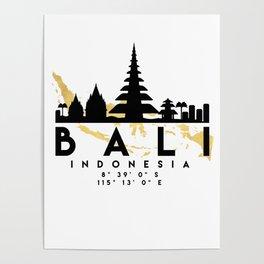 BALI INDONESIA SILHOUETTE SKYLINE MAP ART Poster