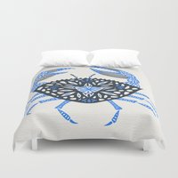 crab Duvet Covers featuring Blue Crab by Cat Coquillette