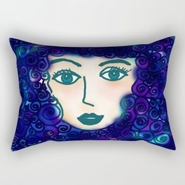 portrait of young woman with blue curly hair Rectangular Pillow