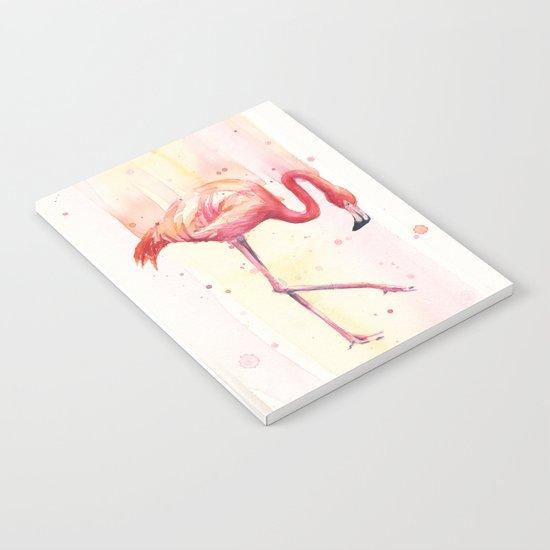 Pink Flamingo Rain | Facing Right Notebook