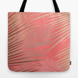 Palms Shadow on Living Coral Tote Bag
